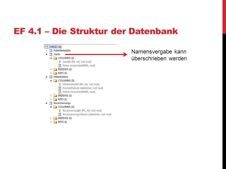 EF 4.1 – Die Struktur der Datenbank Namensvergabe kann überschrieben werden