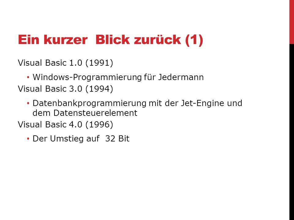Ein kurzer Blick zurück (1) Visual Basic 1.0 (1991) Windows-Programmierung für Jedermann Visual Basic 3.0 (1994) Datenbankprogrammierung mit der Jet-E