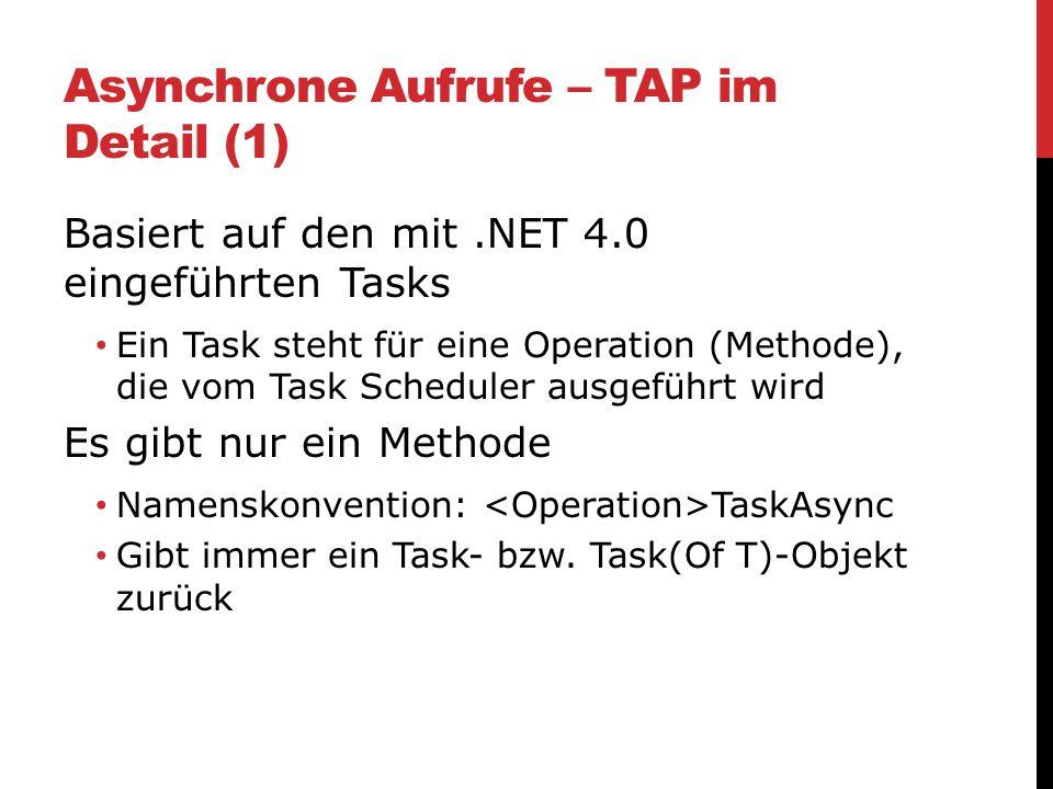 Asynchrone Aufrufe – TAP im Detail (1) Basiert auf den mit.NET 4.0 eingeführten Tasks Ein Task steht für eine Operation (Methode), die vom Task Schedu