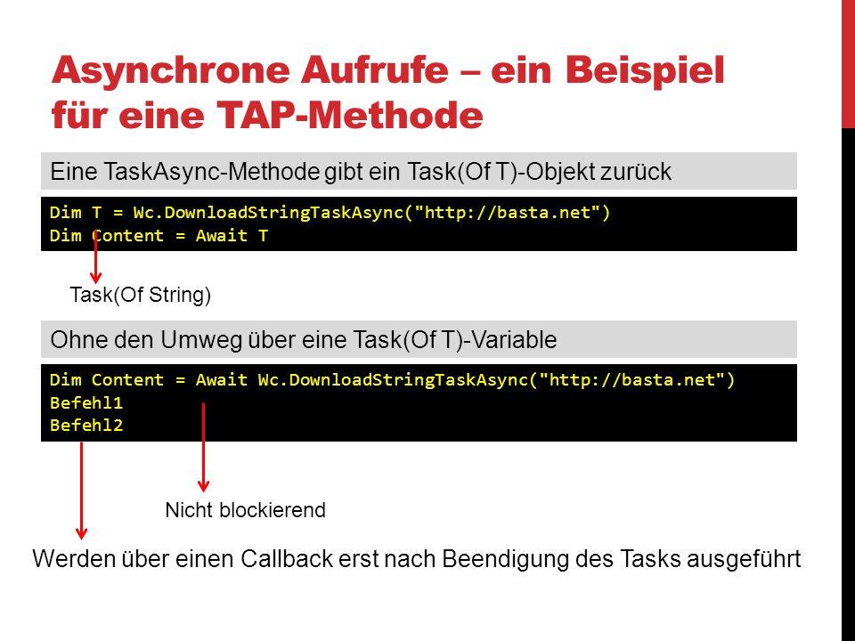 Asynchrone Aufrufe – ein Beispiel für eine TAP-Methode Dim T = Wc.DownloadStringTaskAsync(
