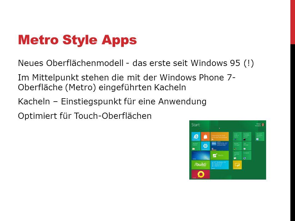 Metro Style Apps Neues Oberflächenmodell - das erste seit Windows 95 (!) Im Mittelpunkt stehen die mit der Windows Phone 7- Oberfläche (Metro) eingefü