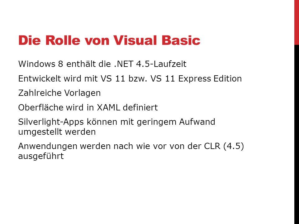 Die Rolle von Visual Basic Windows 8 enthält die.NET 4.5-Laufzeit Entwickelt wird mit VS 11 bzw. VS 11 Express Edition Zahlreiche Vorlagen Oberfläche