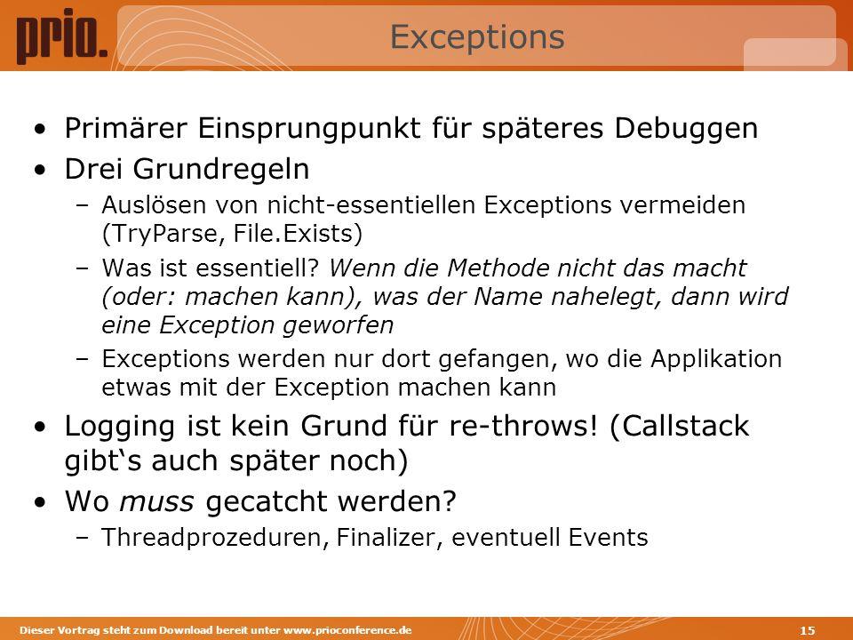 Exceptions Primärer Einsprungpunkt für späteres Debuggen Drei Grundregeln –Auslösen von nicht-essentiellen Exceptions vermeiden (TryParse, File.Exists) –Was ist essentiell.