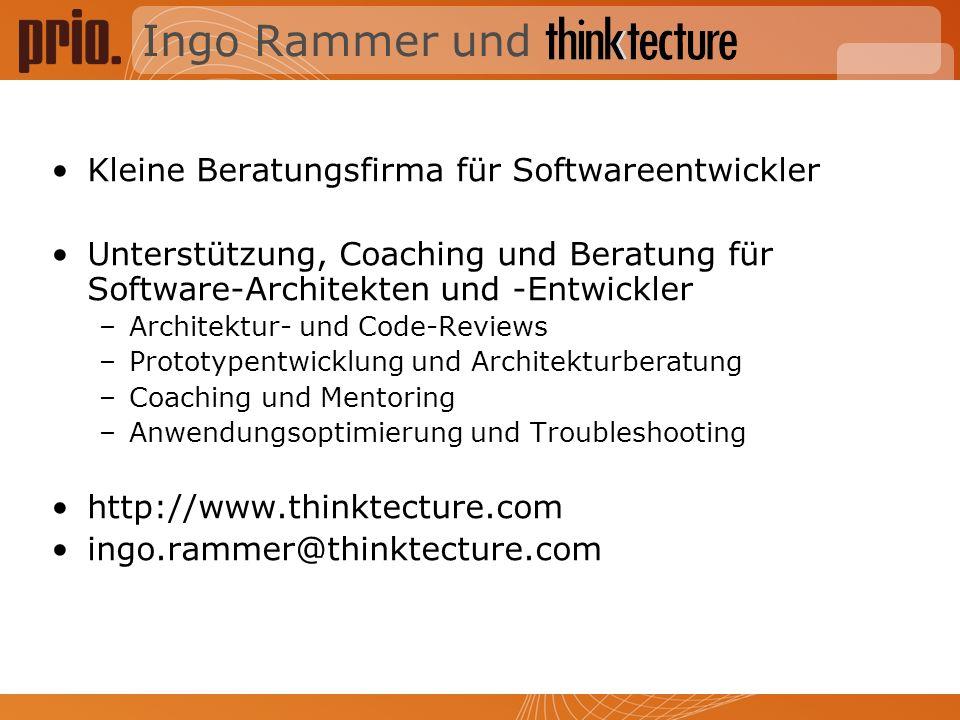 Ingo Rammer und Kleine Beratungsfirma für Softwareentwickler Unterstützung, Coaching und Beratung für Software-Architekten und -Entwickler –Architektu
