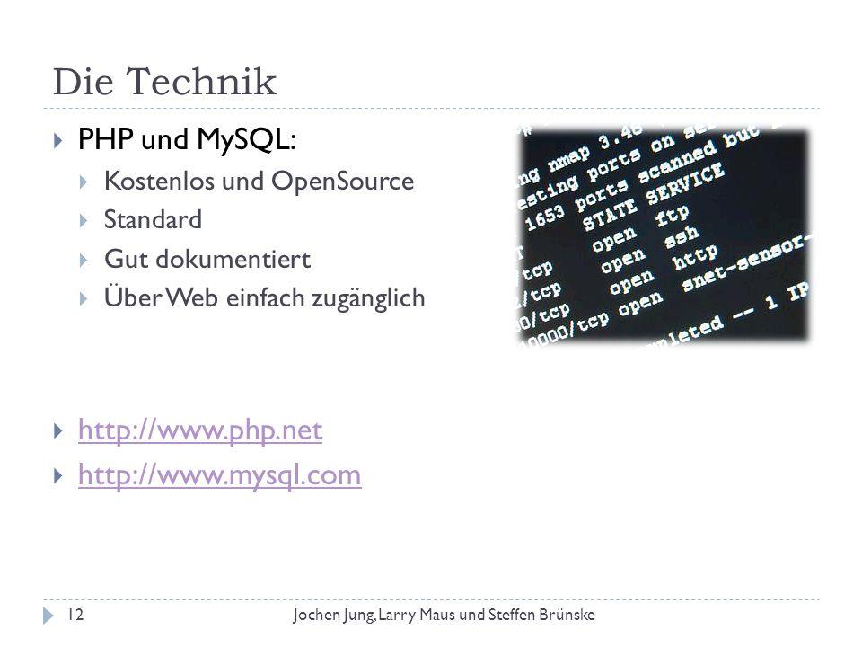 Die Technik PHP und MySQL: Kostenlos und OpenSource Standard Gut dokumentiert Über Web einfach zugänglich http://www.php.net http://www.mysql.com 12Jo