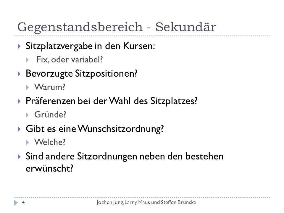 Weitere Erkenntnisse aus der Analyse 25Jochen Jung, Larry Maus und Steffen Brünske Bei der Sitzordnungsform wird klar die klassische Variante mit Sitzreihen bevorzugt.