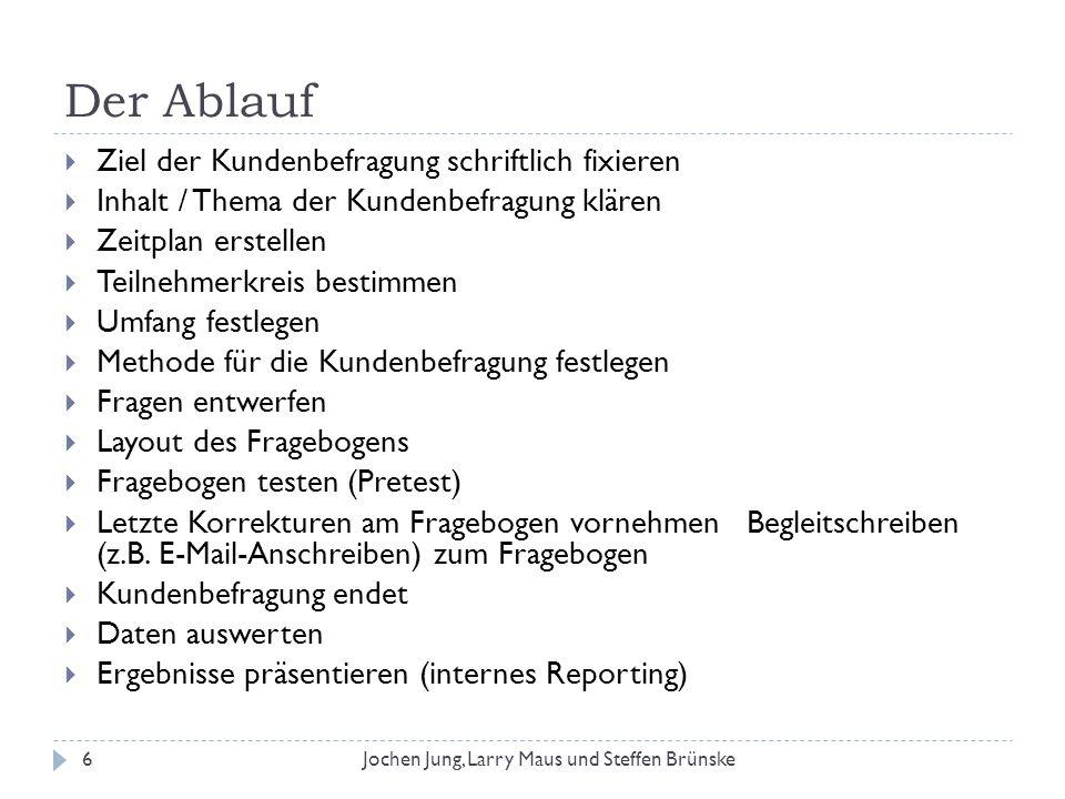 Untersuchungsfeld Umfrage unter Studenten/innen An der BA-Mannheim Über alle Semester verteilt 7Jochen Jung, Larry Maus und Steffen Brünske