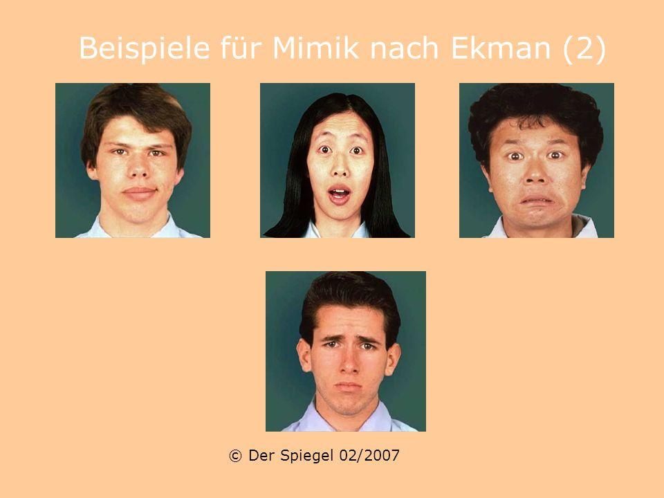Beispiele für Mimik nach Ekman © Der Spiegel 02/2007