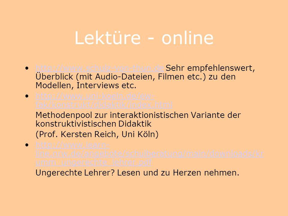Lektüre - gedruckt Heinz Klippert: Kommunikations-Training. Übungsbausteine für den Unterricht. Weinheim 1995. (Wenn Sie Kommunikation unterrichten wo