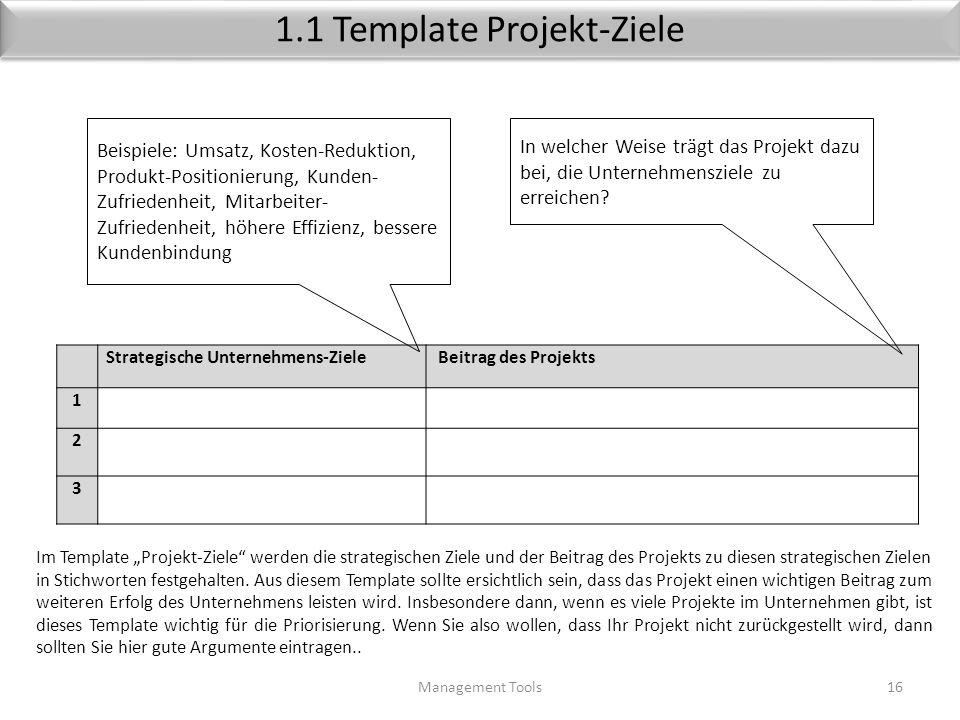 Ziele (Beispiele) Management Tools15 Strategische ZieleProjektProdukt-ZieleAnforderungenControlling 1Erschliessung neuer Kundengruppen, Erschliessung
