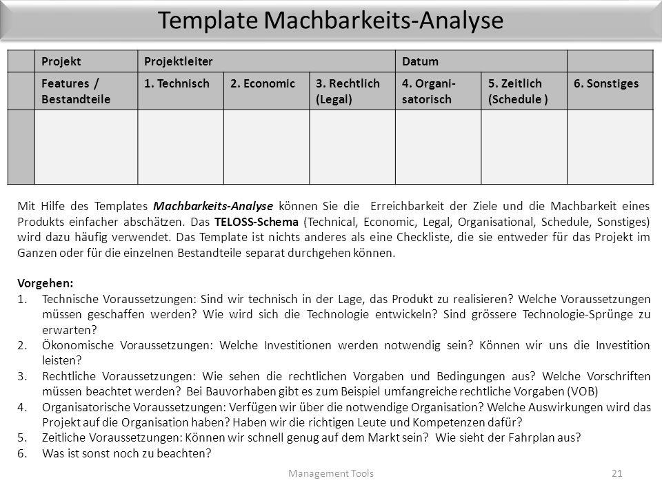 1.3 Machbarkeits-Analyse Management Tools20 Projektideen hören sich oft ganz toll an, aber nicht alles, was zunächst gut klingt, ist auch realisierbar