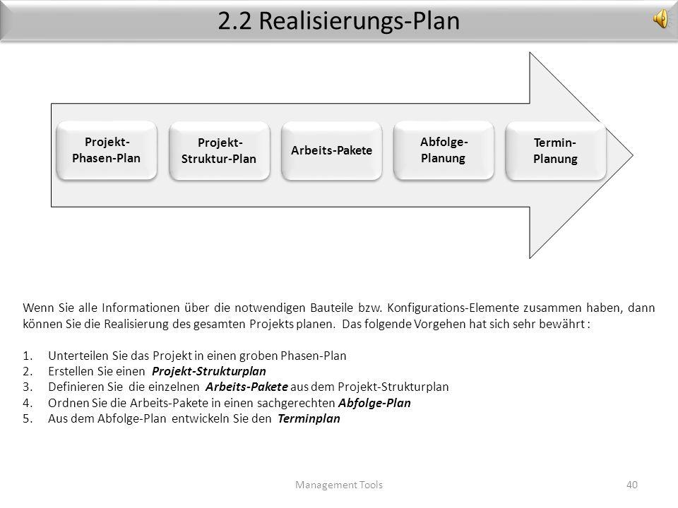 Realisierungs-Konzept (Beispiel) Management Tools39 Aus der Anforderungs-Datenbank werden die einzelnen Bauteile identifiziert. Im Beispiel Flying Fox
