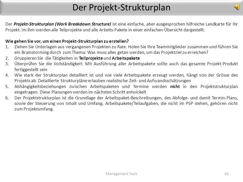 Der Projekt-Phasenplan (Beispiel Hausbau) Management Tools41 Grundstück, Finanzierung, Bau-Genehmi- gung Fundamente Rohbau Dach Innen-Ausbau Entscheid