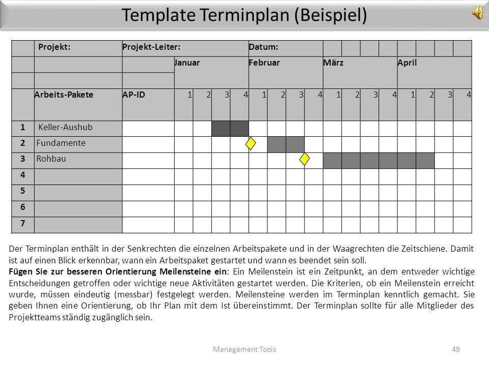 Terminplan Management Tools48 Sie erinnern sich: Termingerechte Fertigstellung ist eines Ihrer wichtigsten Projektziele. Dafür brauchen Sie einen Term