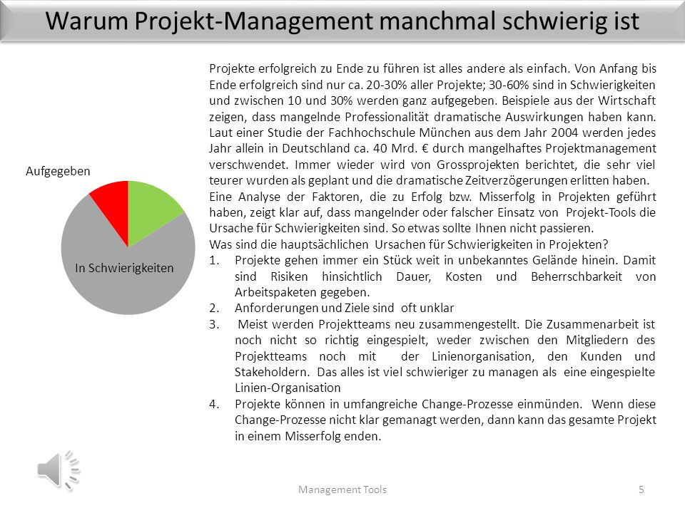 Warum Projekt-Management manchmal schwierig ist Management Tools5 Projekte erfolgreich zu Ende zu führen ist alles andere als einfach.