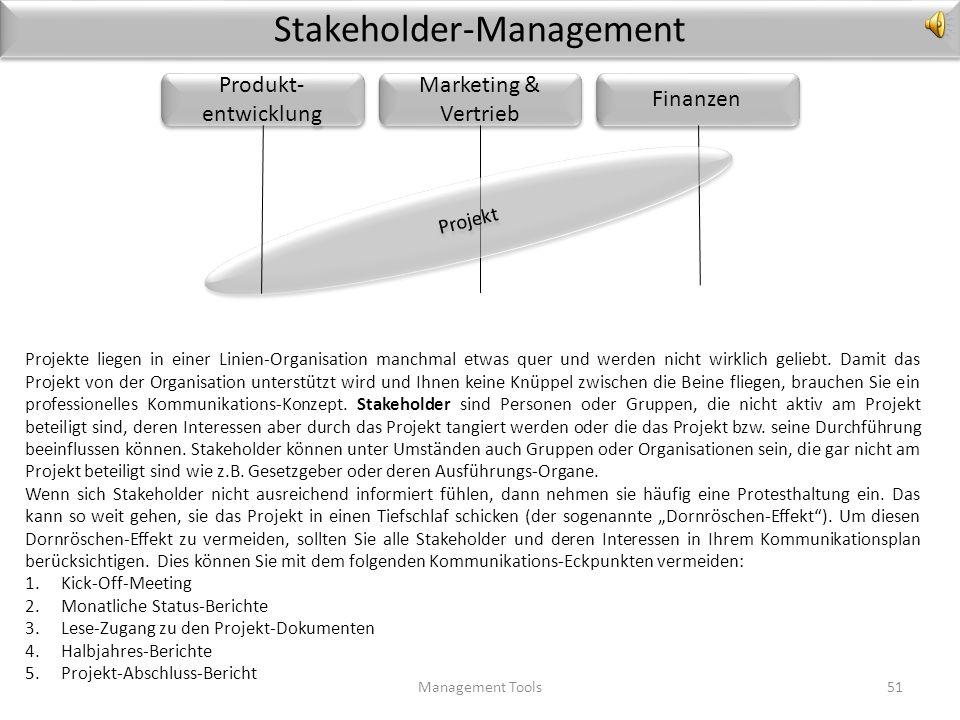 2.3 Kommunikations-Planung im Projekt Management Tools50 Kommunikation ist aus vielen Gründen der Lebensnerv eines Projekts. Wenn alle informiert sind