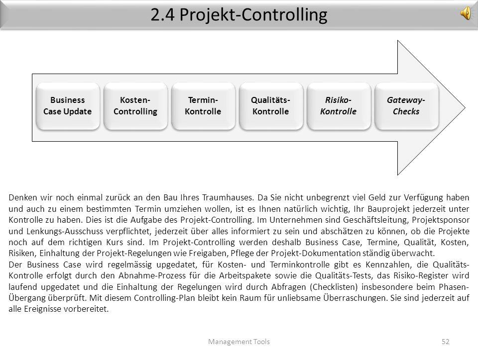 Stakeholder-Management Management Tools51 Produkt- entwicklung Marketing & Vertrieb Finanzen Projekt Projekte liegen in einer Linien-Organisation manc