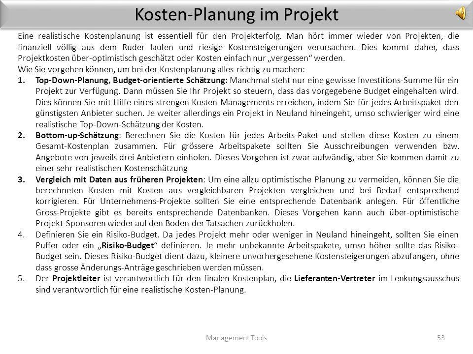 2.4 Projekt-Controlling Management Tools52 Risiko- Kontrolle Risiko- Kontrolle Business Case Update Business Case Update Termin- Kontrolle Kosten- Con