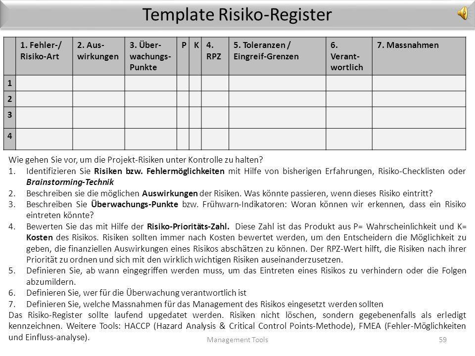 Risiko-Management Management Tools58 Die Untersuchung von Problem-Projekten zeigt, dass mangelndes Risiko-Management bei der Liste der Ursachen ganz w
