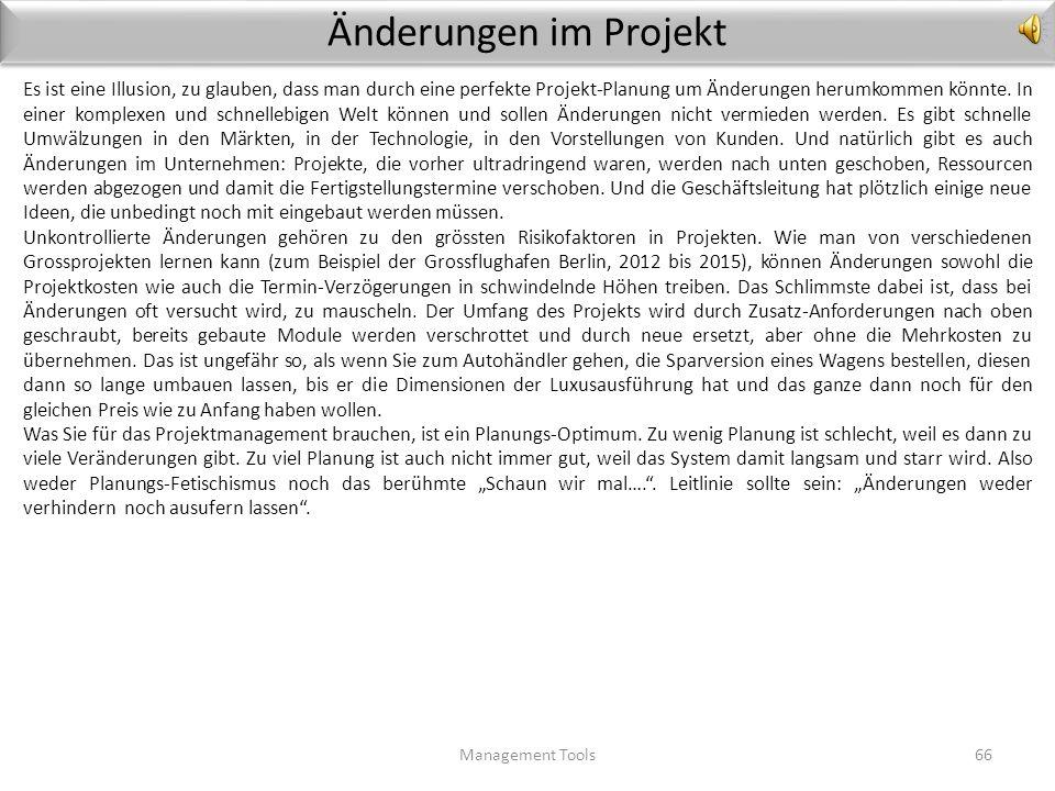 Template Qualitäts-Register (Beispiel Software) Management Tools65 Produkt / ProjektVerantwortlich 1. Teil / Konfigurations- Element 2. Anforderungen,