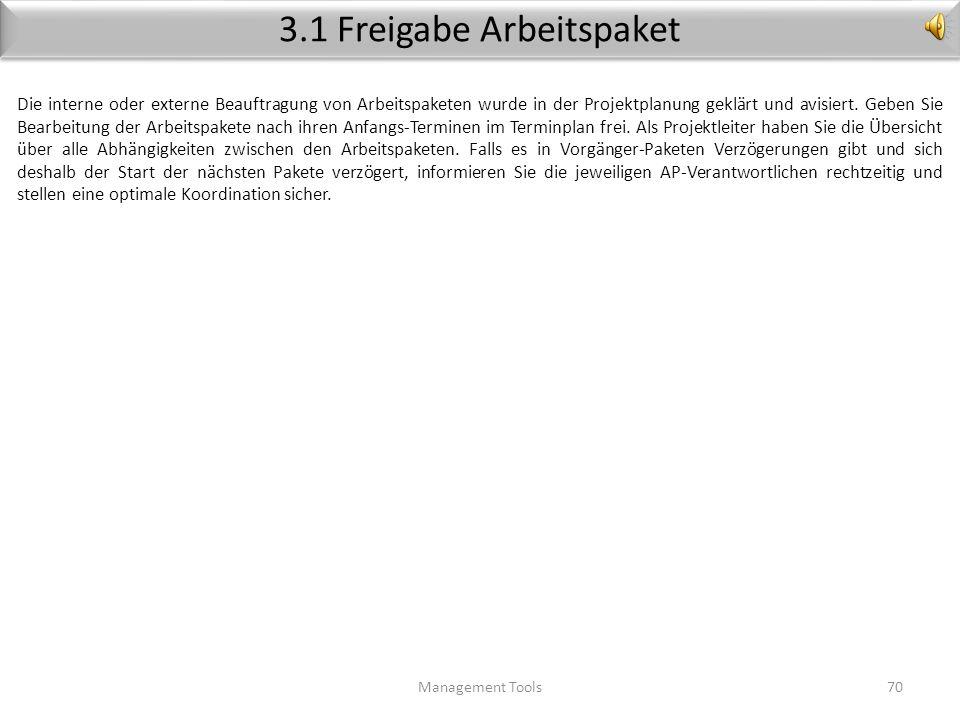 3. Die Arbeits-Phase Management Tools69 Abnahme Arbeits-Paket Status-Bericht Status überwachen Arbeits-Paket freigeben 5. Abschluss- Phase 1. Vorberei