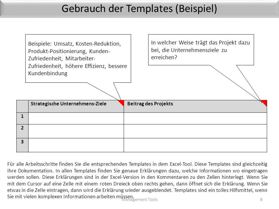 Gebrauch der Templates (Beispiel) Management Tools8 Strategische Unternehmens-Ziele Beitrag des Projekts 1 2 3 Beispiele: Umsatz, Kosten-Reduktion, Produkt-Positionierung, Kunden- Zufriedenheit, Mitarbeiter- Zufriedenheit, höhere Effizienz, bessere Kundenbindung In welcher Weise trägt das Projekt dazu bei, die Unternehmensziele zu erreichen.