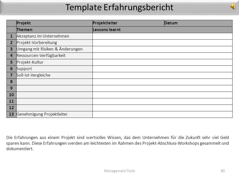 Template Produkt-Übergabe an die Linienorganisation Management Tools79 ProjektProjektleiterDatum Checkpunkte 1Sind die Prozesse für die Übernahme der