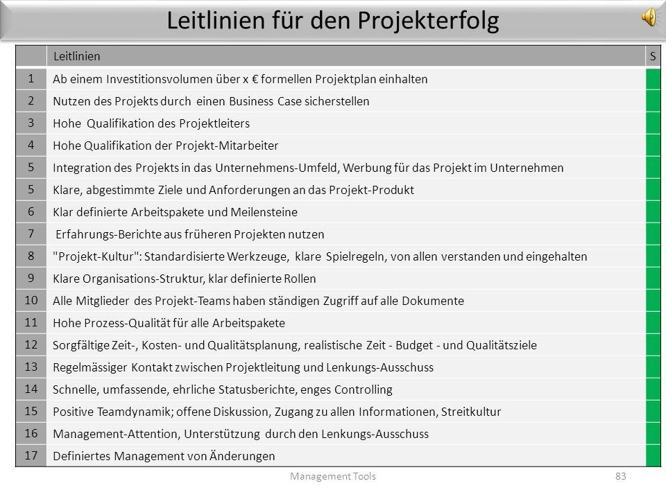 Aufgaben des Lenkungsausschusses im Überblick Management Tools82 Die Unterlagen aus der Vorbereitungsphase liegen vor; eine Entscheidung über die Frei