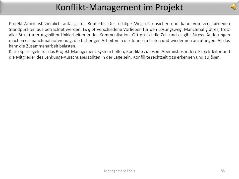 Motivation der Projekt-Mitarbeiter Management Tools84 MotivationsfaktorenS 1Wichtigkeit, Notwendigkeit und Dringlichkeit des Projekts (Business Case)