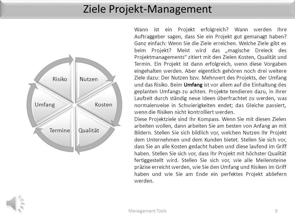 Ziele Projekt-Management Management Tools9 Nutzen Kosten QualitätTermine Umfang Risiko Wann ist ein Projekt erfolgreich.
