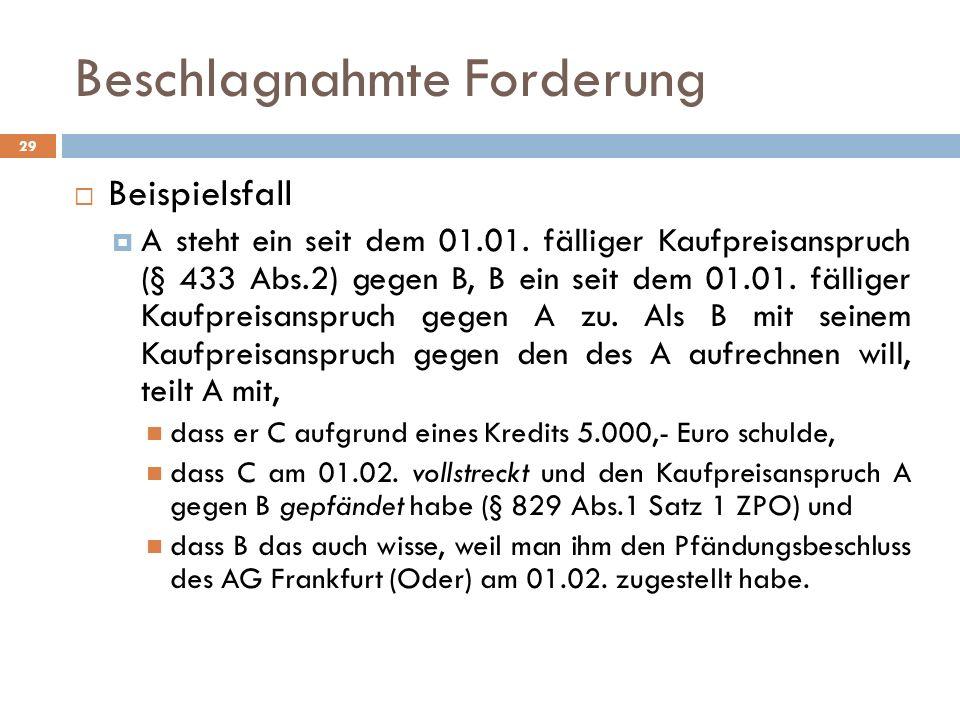 Beschlagnahmte Forderung 29 Beispielsfall A steht ein seit dem 01.01. fälliger Kaufpreisanspruch (§ 433 Abs.2) gegen B, B ein seit dem 01.01. fälliger