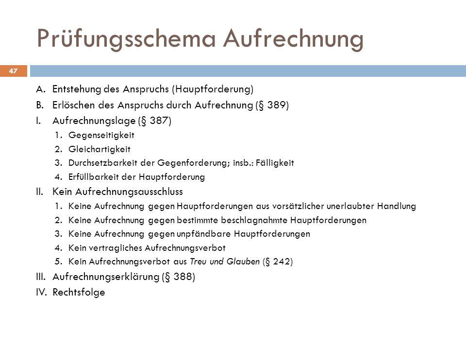 Prüfungsschema Aufrechnung 47 A.Entstehung des Anspruchs (Hauptforderung) B.Erlöschen des Anspruchs durch Aufrechnung (§ 389) I.Aufrechnungslage (§ 38