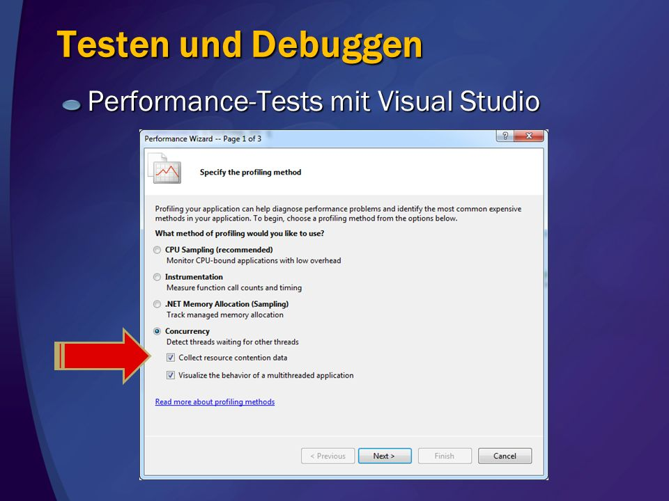 Testen und Debuggen Performance-Tests mit Visual Studio