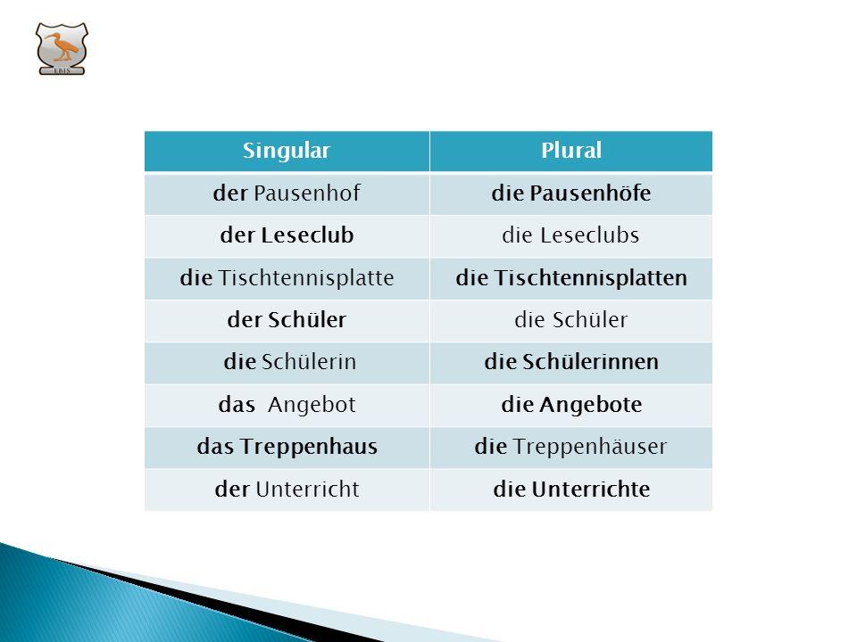 II. Ergänze die Tabelle: PluralSingular...... Pausenhof die Leseclubs......Tischtennisplatte die Schüler....... Schülerin....... Angebot...... Treppen