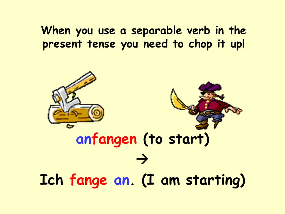 When you use a separable verb in the present tense you need to chop it up.