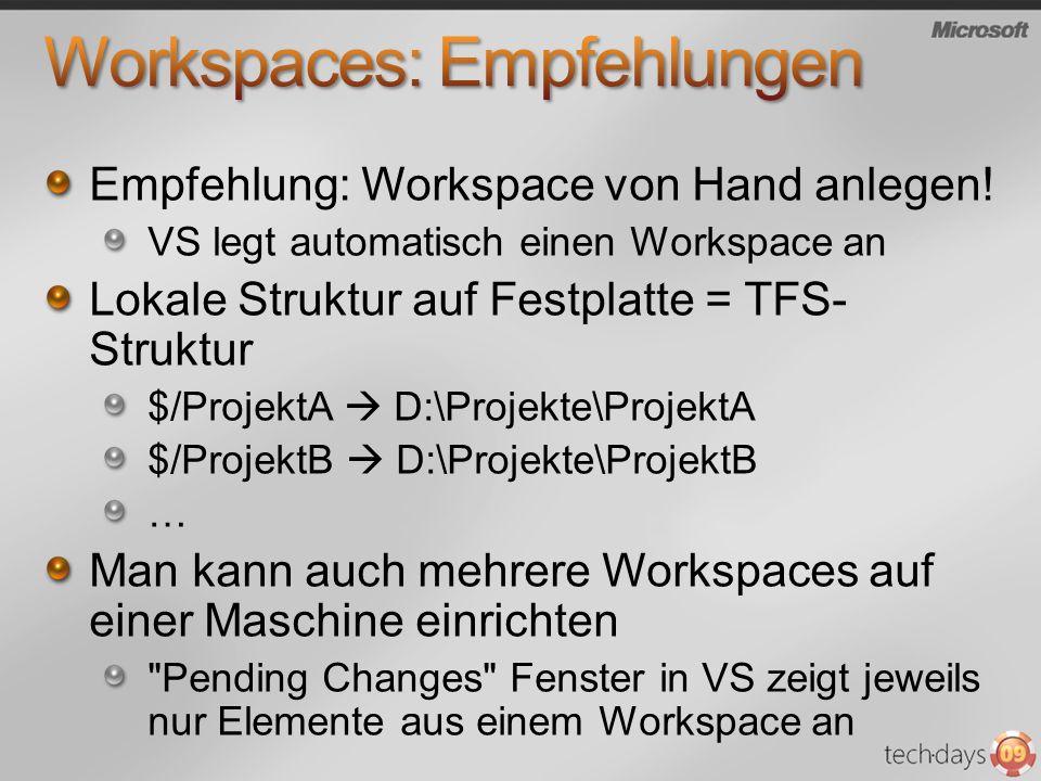 Empfehlung: Workspace von Hand anlegen! VS legt automatisch einen Workspace an Lokale Struktur auf Festplatte = TFS- Struktur $/ProjektA D:\Projekte\P