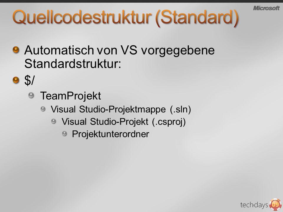 Automatisch von VS vorgegebene Standardstruktur: $/ TeamProjekt Visual Studio-Projektmappe (.sln) Visual Studio-Projekt (.csproj) Projektunterordner