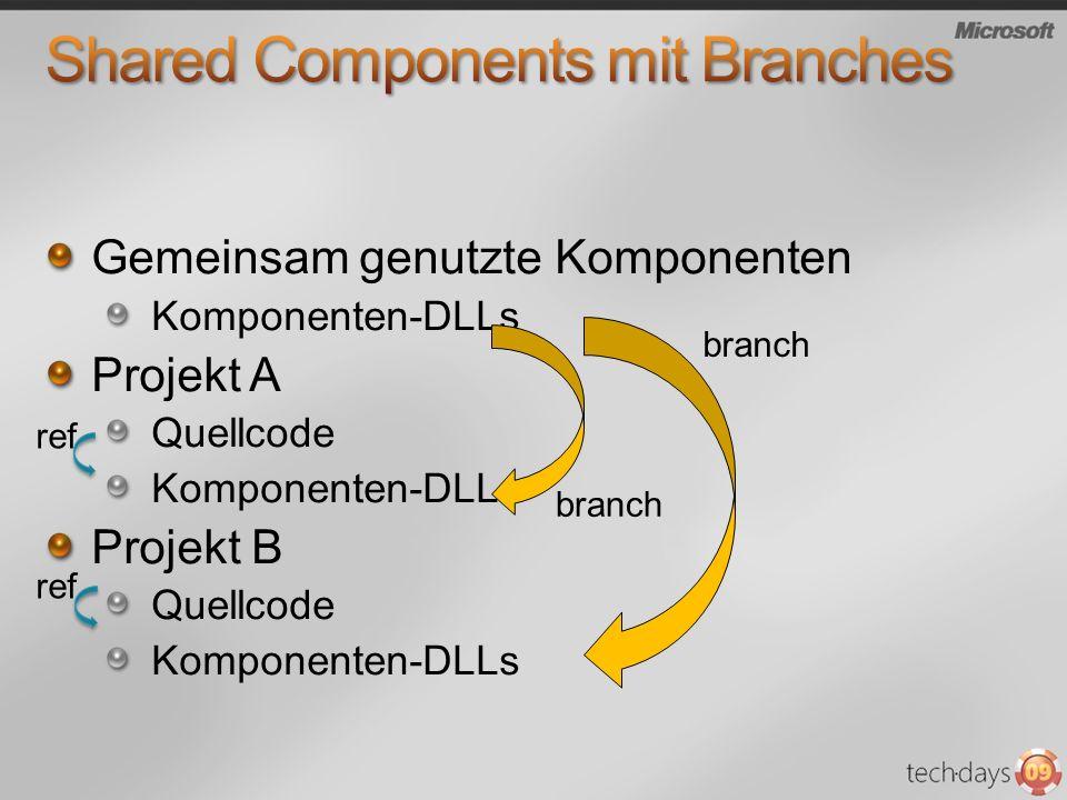 Gemeinsam genutzte Komponenten Komponenten-DLLs Projekt A Quellcode Komponenten-DLLs Projekt B Quellcode Komponenten-DLLs ref branch
