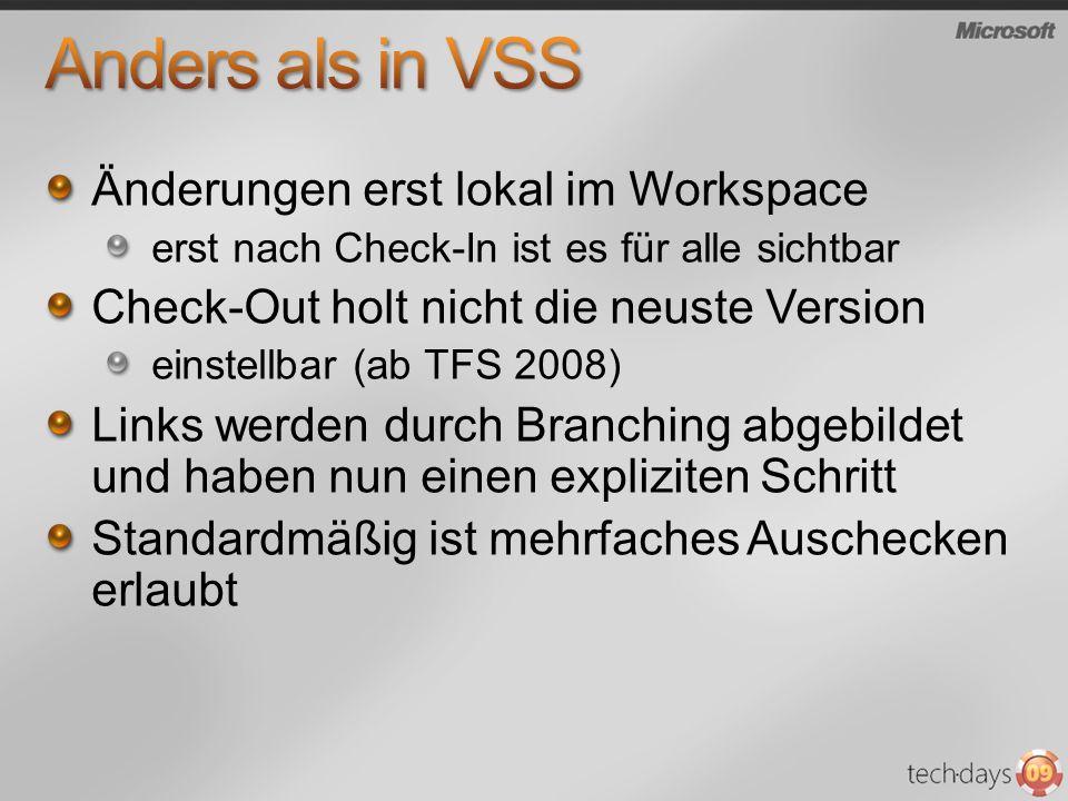 Änderungen erst lokal im Workspace erst nach Check-In ist es für alle sichtbar Check-Out holt nicht die neuste Version einstellbar (ab TFS 2008) Links