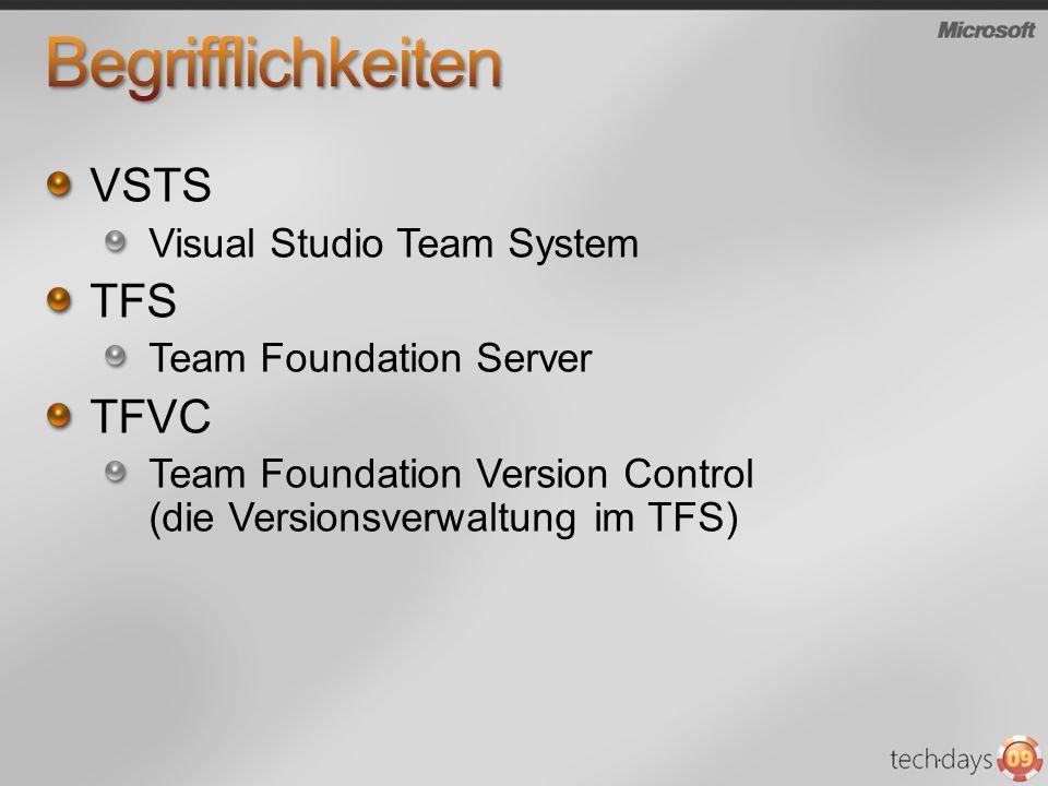 VSTS Visual Studio Team System TFS Team Foundation Server TFVC Team Foundation Version Control (die Versionsverwaltung im TFS)