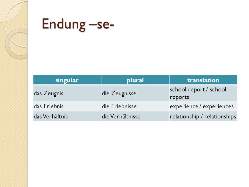 Endung –se- singularpluraltranslation das Zeugnisdie Zeugnisse school report / school reports das Erlebnisdie Erlebnisseexperience / experiences das Verhältnisdie Verhältnisserelationship / relationships