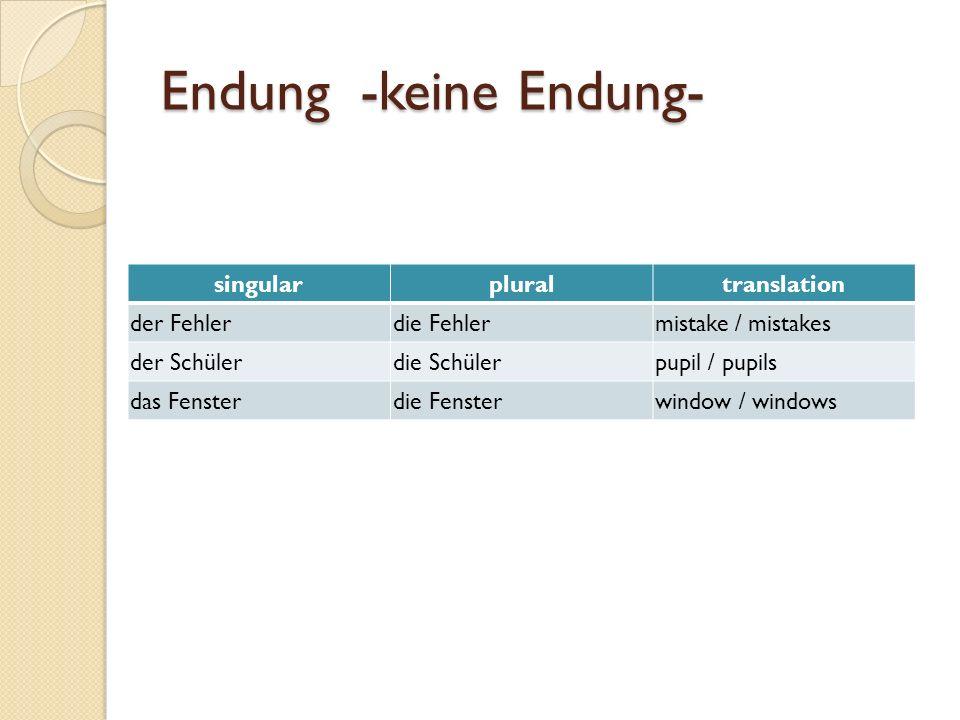 Endung -keine Endung- singularpluraltranslation der Fehlerdie Fehlermistake / mistakes der Schülerdie Schülerpupil / pupils das Fensterdie Fensterwindow / windows