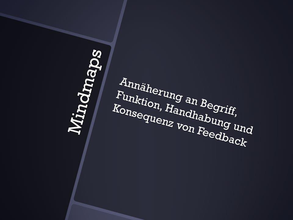 Mindmaps Annäherung an Begriff, Funktion, Handhabung und Konsequenz von Feedback