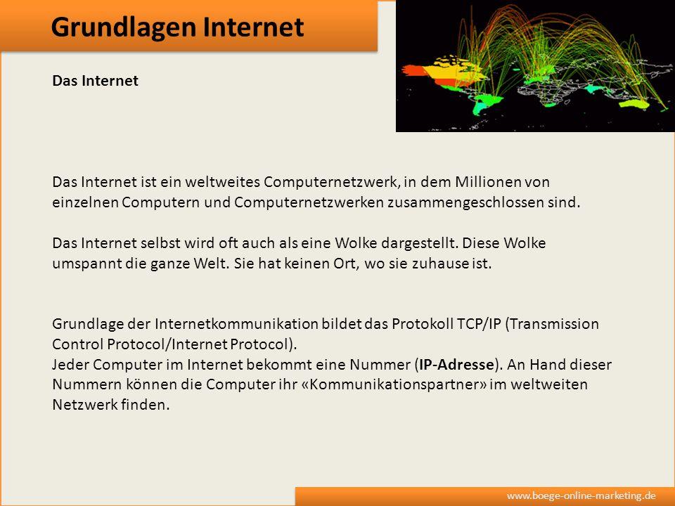 Grundlagen Internet www.boege-online-marketing.de Das Internet Das Internet ist ein weltweites Computernetzwerk, in dem Millionen von einzelnen Comput