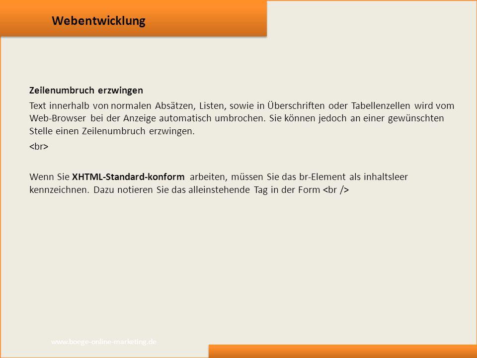 Webentwicklung Zeilenumbruch erzwingen Text innerhalb von normalen Absätzen, Listen, sowie in Überschriften oder Tabellenzellen wird vom Web-Browser b