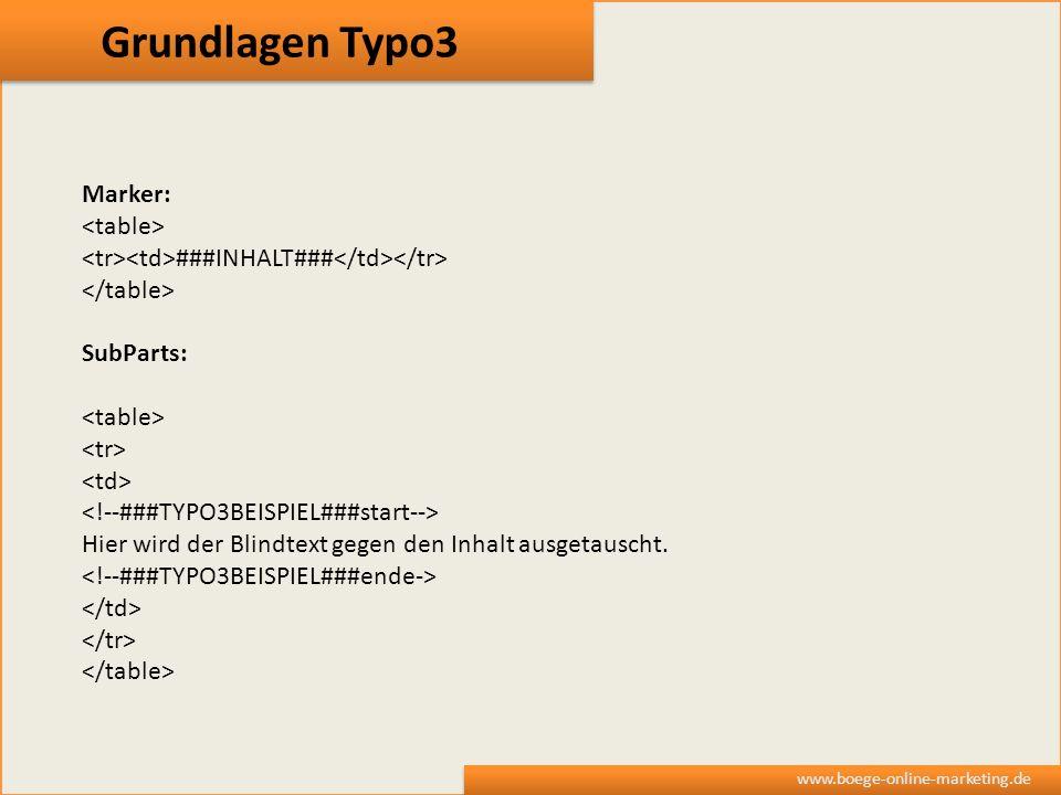 Grundlagen Typo3 www.boege-online-marketing.de Marker: ###INHALT### SubParts: Hier wird der Blindtext gegen den Inhalt ausgetauscht.