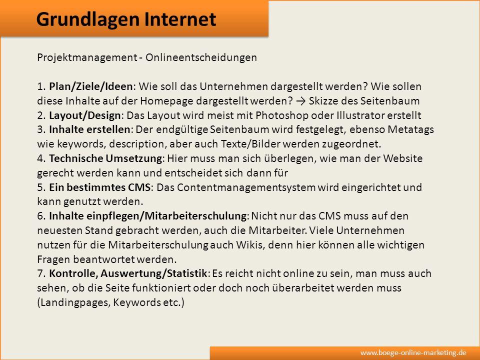 Grundlagen Internet www.boege-online-marketing.de Projektmanagement - Onlineentscheidungen 1. Plan/Ziele/Ideen: Wie soll das Unternehmen dargestellt w
