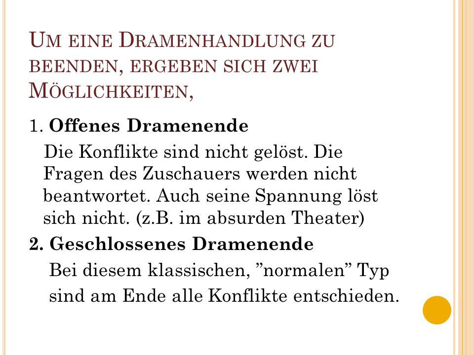 H ÄUFIG ENTWICKELT SICH DER A NFANG EINES D RAMAS IN DREI S CHRITTEN : 1. dramatischer Auftakt Durch einen interessanten Vorgang auf der Bühne wird zu