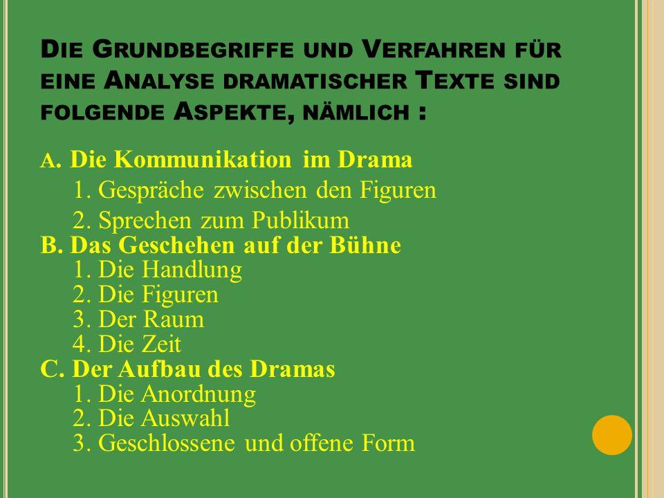D ER K ONFLIK Im Drama lassen sich zwei Arten von Konflikte feststellen.