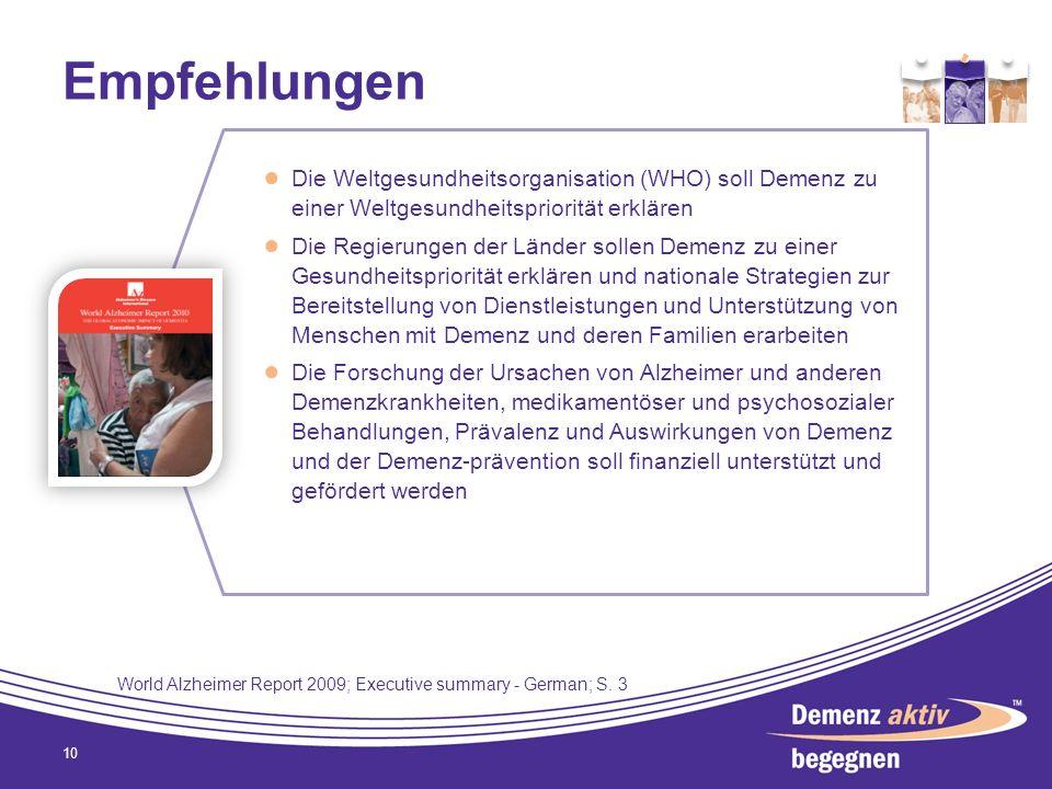 Empfehlungen 10 Die Weltgesundheitsorganisation (WHO) soll Demenz zu einer Weltgesundheitspriorität erklären Die Regierungen der Länder sollen Demenz